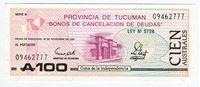 Picture of Аргентина 1989 г. • (Провинция Тукуман) 100 аустралей • UNC пресс