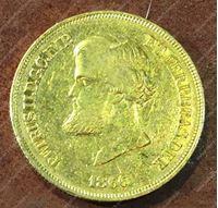 Изображение Бразилия 1866г. KM# 467 • 10 тыс. рейс / золото 917 - 8.96 гр. • AU+