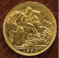 Изображение Великобритания 1894г. KM# 785 • соверен / золото 917 - 7.99 гр. • MS BU GEM