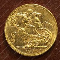 Изображение Великобритания 1896г. KM# 785 • соверен / золото 917 - 7.99 гр. • BU-