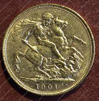 Изображение Великобритания 1901г. KM# 785 • соверен / золото 917 - 7.99 гр. • AU+