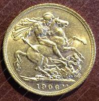 Изображение Великобритания 1906г. KM# 805 • соверен / золото 917 - 7.99 гр. • BU-