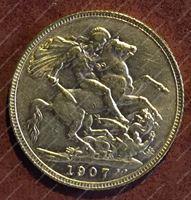 Изображение Великобритания 1907г. KM# 805 / соверен / золото 917 - 7.99 гр. / BU