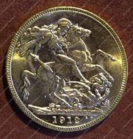 Изображение Великобритания 1912 г. KM# 820 • соверен • золото 917 - 7.99 гр. • MS BU GEM++!!