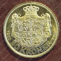 Изображение Дания 1910г. KM# 810 • 20 крон / золото 900 - 8.96 гр. • MS BU GEM!!!