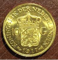 Изображение Нидерланды 1917г. KM# 149 • 10 гульденов / золото 900 - 6.73 гр. • MS BU GEM!!