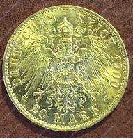 Bild von Пруссия 1900г. KM# 521 • 20 марок / золото 900 - 7.97 гр. • MS BU GEM!!