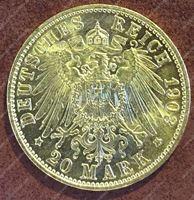 Bild von Пруссия 1903г. KM# 521 • 20 марок / золото 900 - 7.97 гр. • MS BU GEM!!