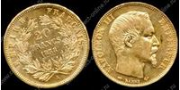 Изображение Франция 1858г. A KM# 781.1 • 20 франков / золото-900 6.45гр. • XF+