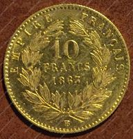 Изображение Франция 1863г. BB(Страсбург) 10 франков золото 900 - 3.225 гр. • AU