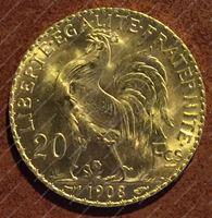 Bild von Франция 1908г. KM# 857 • 20 франков • золото 900 - 6.45 гр. • MS BU GEM!