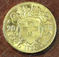 Bild von Швейцария 1935г. KM# 35.1 • 20 франков / золото 900 - 6.45 гр. • MS BU GEM!