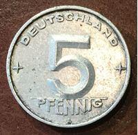 Изображение Германия   ГДР 1952г.  A  KM# 6 • 5 пфеннигов •  XF+ ( кат.- $5,00 )