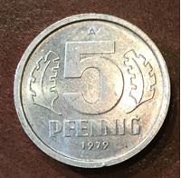 Изображение Германия   ГДР 1979г.  A  KM# 9.2 • 5 пфеннигов •  BU