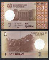 Изображение Таджикистан  1999г.  P# 10 • 1 дирам •  UNC пресс