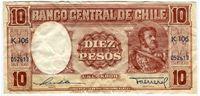 Изображение Чили 1957 г. • 10 песо • XF+