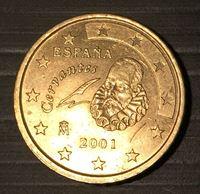 Изображение Испания 2001 г. • KM# 1045 • 50 евроцентов • Сервантес • BU