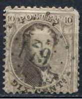 Изображение Бельгия 1863-65 гг. SC# 14 • 10c. Король Леопольд I (лот № 2) • Used F-VF ( кат.- $4 )