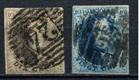 Изображение Бельгия 1858-61 гг. SC# 10-11 • 10 и 20c. б.з. Король Леопольд I (лот № 3) • Used VF-XF ( кат.- $18 )