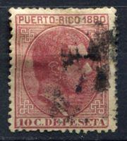 Изображение Пуэрто-Рико 1880г. SC# 36  • 10c. король Альфонс XII •  Used F