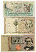 Изображение Италия 1969-1982 гг.  • 500, 1000, 1000 лир • VF