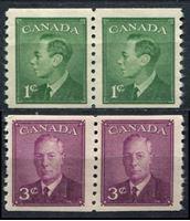 Picture of Канада 1950г. Gb# 429-30  • 1 и 3 цента. Стандарт, рулонные •  MNH OG XF / пары ( кат.- £3 )
