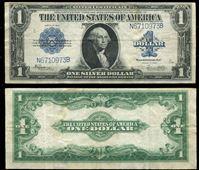 Image de США 1923 г. P# 342 • 1 доллар • большой размер • Дж. Вашингтон (синяя печать) • регулярный выпуск • XF