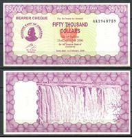 Изображение Зимбабве 2006 г. P# 30 • 50 тыс. долларов • UNC пресс ( кат. - $10 )