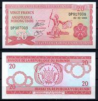 Изображение Бурунди 2005 г. P# 27 • 20 франков • UNC пресс