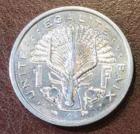 Изображение Джибути 1996 г. • KM# 20 • 1 франк • регулярный выпуск • MS BU ( кат.- $5,00 )
