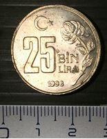 Изображение Турция 1998 г. • KM# 1041 • 25 тыс.(бин) • лир • регулярный выпуск • MS BU