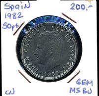 Изображение Испания 1982 г. • KM# 825 • 50 песет • регулярный выпуск • MS BU ( кат.- $5,00 )