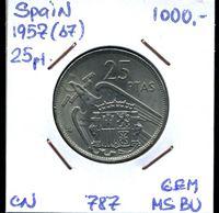 Picture of Испания 1957 г. • KM# 787 • 25 песет • генерал Франко • MS BU ( кат.- $30,00 )