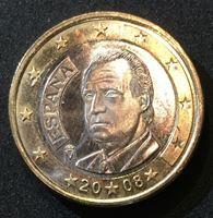Изображение Испания 2008 г. • KM# 1073 • 1 евро. Король Испании Хуан Карлос • MS BU