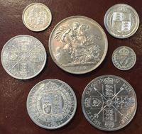 Изображение Великобритания 1887 г. • KM# 758-765 • 3 пенса - 1 крона • Юбилейный набор (серебро) unc-MS BU • UNC+