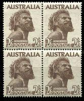 Bild von Австралия 1949 г. SC# 248 • 2sh.6d. Абориген • MNH OG XF • кв.блок ( кат.- $25 )