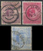 Изображение Великобритания 1902 - 1910 гг. • Gb# 260,263,265 • 2sh.6d., 5sh. и 10sh. Король Эдуард VII • Used VF ( кат.- £800 )