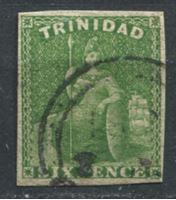 "Изображение Тринидад 1859 г. Gb# 28 • 6d. ""Британия"". б.з. • Used XF ( кат.- £425 )"