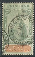 "Изображение Тринидад 1896 г. Gb# 122 • 5sh. ""Британия"". • Used XF ( кат.- £75 )"