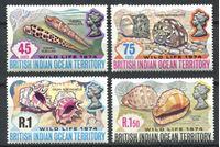 Изображение Британская территория в Индийском океане 1974 г. SC# 59-62 • Морские раковины • MLH OG XF • полн. серия ( кат.- $13 )