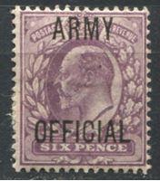 "Изображение Великобритания 1902 г. Gb# O50 • 6d. Эдуард VII. надпечатка ""Официальная армейская"" RARE! • MLH OG XF ( кат.- £160 )"