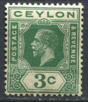 Picture of Цейлон 1912-25 гг.  Gb# 308a  • 3c. Георг V. стандарт. без наклеек! •  MNH OG XF ( кат.- £5 )
