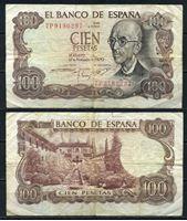 Bild von Испания  1970г.  P# 152 • 100 песет •  регулярный выпуск F+