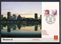 """Image de Норвегия  1992г. SC# 1004,15  • 2.80 и 6.60kr. СГ """"Фил. выставка Монреаль-92"""" •   стандарт • Used(СГ) XF / ПК"""