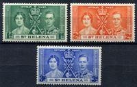 Изображение Святой Елены о-в 1937г. Gb# 128-30  • 1 - 3d. •   Коронация Георга VI • MLH OG XF / полн. серия