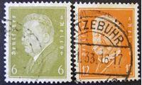 Изображение  1928-1932 гг. Mi# 465-466 • Рейхспрезиденты Эберт и Гинденбург • Used VF-XF ( кат.- €1,8 )