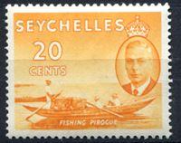 Image de Сейшелы 1952 г. Gb# 163 • Георг VI основной выпуск • 20c. Рыбацкая лодка • MLH OG XF