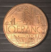 Изображение Франция 1975 г. • KM# 940 • 10 франков • MS BU