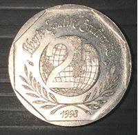 Image de Франция 1998 г. KM# 1213 • 2 франка • 50 лет Декларации Прав Человека • памятный выпуск • MS BU люкс!