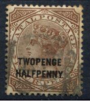 "Image de Натал 1891 г. Gb# 109a • 2 1/2d. на 4d. надпечатка с ошибкой ""twopenGe .."" • Used XF ( кат.- £60 )"
